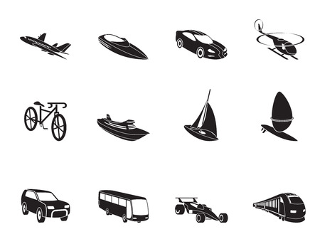 busness: Silhouette different kind of transportation and travel icons - vector icon set