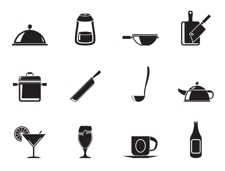 cafe food: Silhouette Restaurant, cafe, food and drink icons