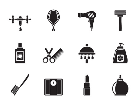 personal care: Silhouette Personal care and cosmetics icons