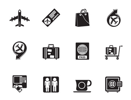 Silhouette airport, travel and transportation icons 1 - vector icon set Vector