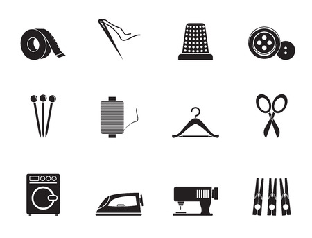 Silhouette Textile objects and industry icons Vektorové ilustrace