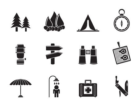 pocket knife: Silhouette Camping, travel and Tourism icons - vector icon set