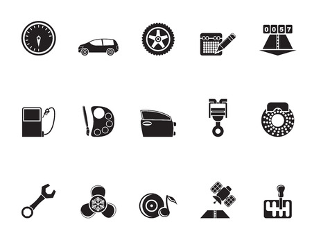 vulcanization: Silhouette car parts, services and characteristics icons - vector icon set