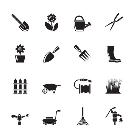 Silhouette Garden and gardening tools and objects icons Vector
