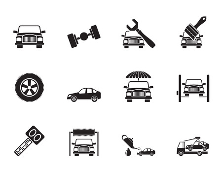 breakage: Silhouette auto service and transportation icons