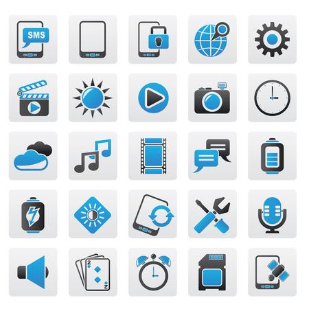 brightness: Mobile Phone Interface icons Illustration