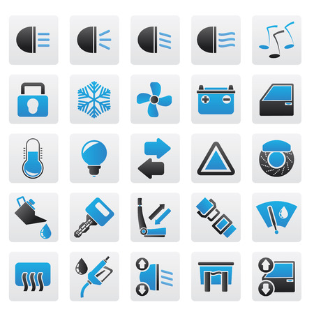 windshield wiper: Car interface sign and icons Illustration
