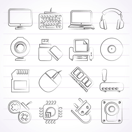 peripherals: Computer peripherals and accessories icons Illustration
