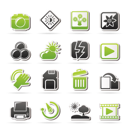 Photography and Camera Function Icons Vector