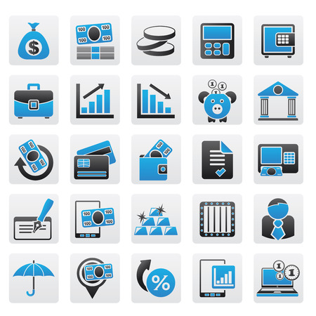 Bank, business and finance icons Vector