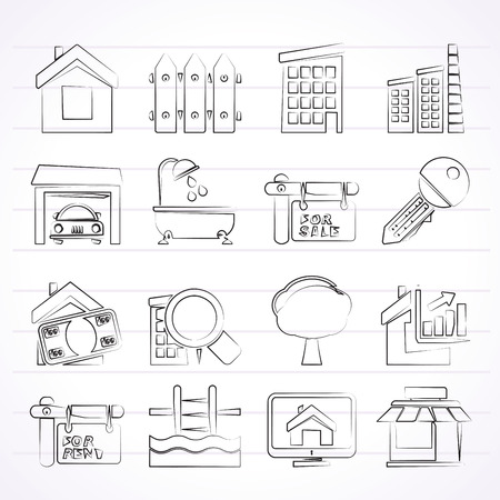homes for sale: Real Estate Icons - Vector Icon Set Illustration