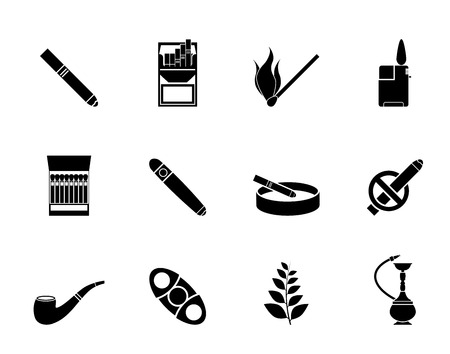 lighter: Silhouette Smoking and cigarette icons - vector icon set