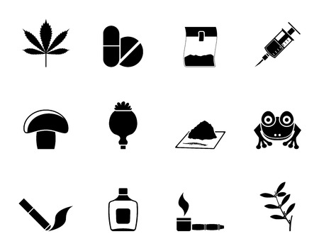 crack pipe: Silhouette Different kind of drug icons - vector icon set