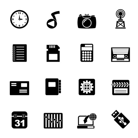 polyphony: Silhouette Phone Performance, Internet and Office Icons - Vector Icon Set Illustration