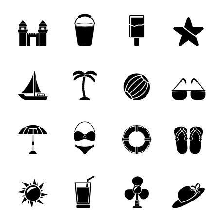 holiday icons: Silhouette Beach, sea and holiday icons - vector icon set