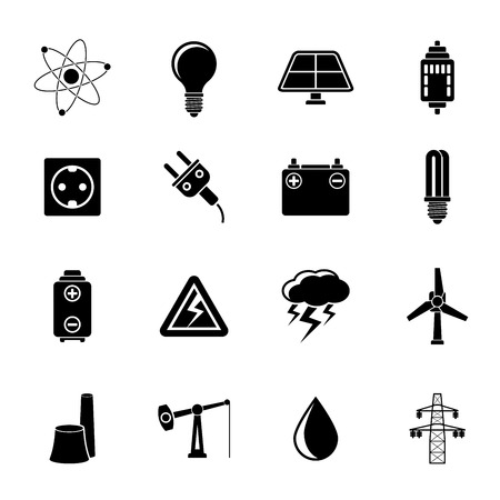 Silhouette Power and electricity industry icons - vector icon set Vector