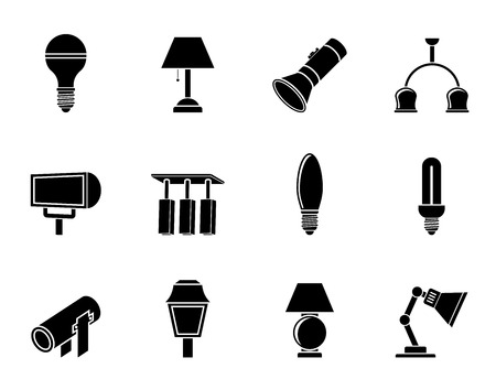 lighting equipment: Silhouette different kind of lighting equipment - vector icon set Illustration