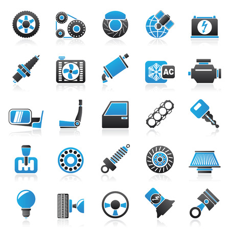 car door: Car parts and services icons - vector icon set