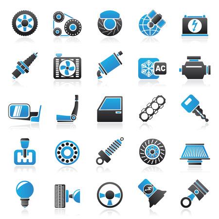repuestos de carros: Piezas y servicios de coches iconos - vector icono conjunto Vectores