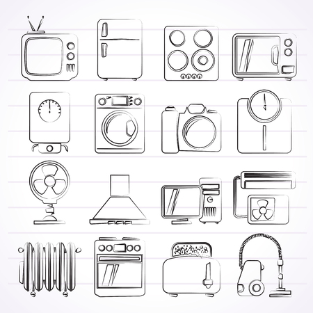 home appliances and electronics icons - vector icon set Vector
