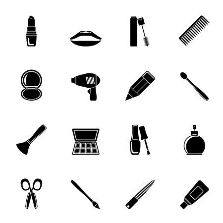 make up brush: Silueta cosm�tica, maquillaje y peluquer�a iconos - conjunto de iconos vectoriales