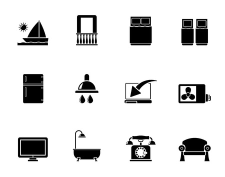 minibar: Silhouette Hotel and motel room facilities icons - vector icon set