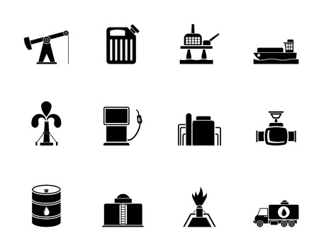 flaring: Silhouette Oil and petrol industry icons - vector icon set
