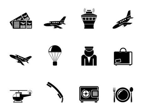 Luchthaven silhouet en reizen iconen - vector icon set Stock Illustratie