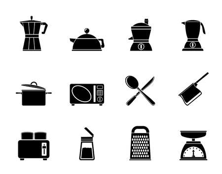 Silhouette kitchen and household equipment icon - vector icon set