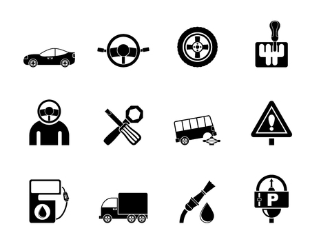 gearshift: Silhouette car services and transportation icons - vector icon set Illustration