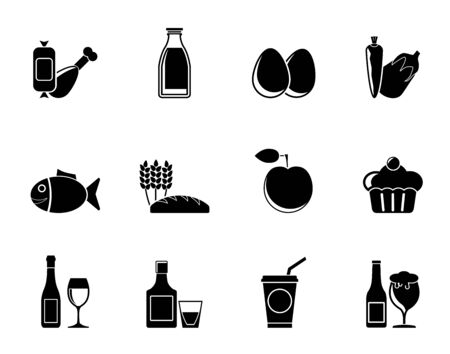 Silhouette Food, drink and Aliments icons - vector icon set Vector