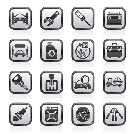 gearbox: Car parts and services icons - vector icon set 1 Illustration