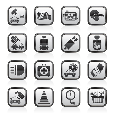 automatic: Car parts and services icons - vector icon set 3 Illustration