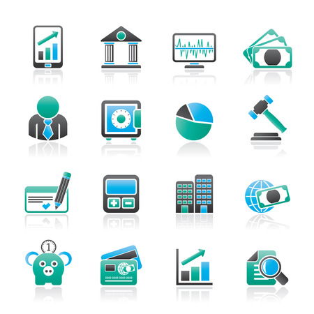 bankcard: Business, finance and bank icons - icon set Illustration