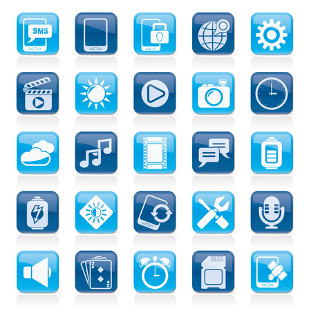 brightness: Mobile Phone Interface icons - icon set