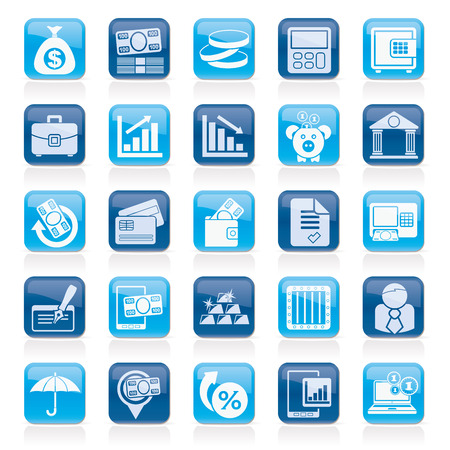 Bank, business and finance icons - icon set Vector
