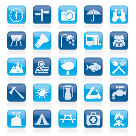 Camping and tourism icons - icon set Vector