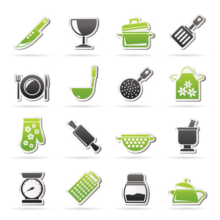 kitchen scale: cooking Equipment Icons  - icon set