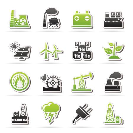 thermal power plant: Electricidad y fuente de energ�a iconos - conjunto de iconos Vectores