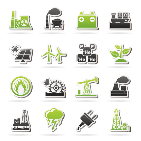 Electricity and Energy source icons - icon set Vector