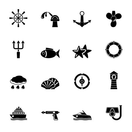 harpoon: Silhouette Marine and sea icons - vector icon set