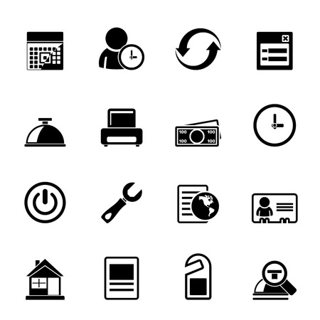 reservation: Silhouette reservation and hotel icons - vector icon set
