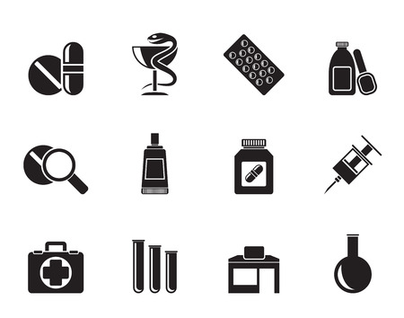 medical building: Silhouette Pharmacy and Medical icons - vector icon set