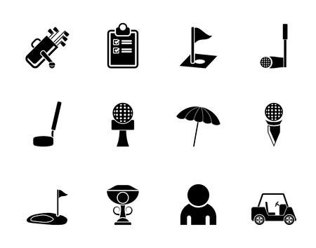 golf stick: Silhouette golf and sport icons - vector icon set