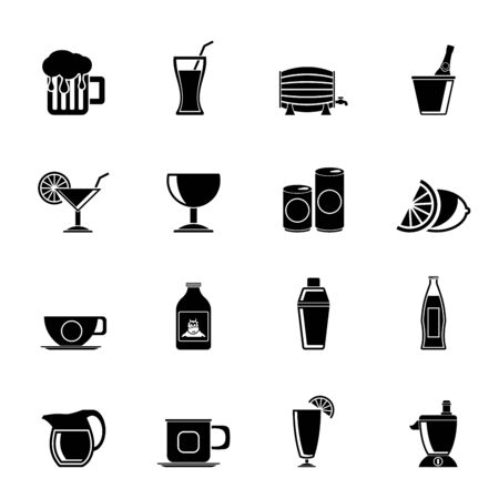 cocktail shaker: Silhouette beverages and drink icons - vector  icon set Illustration