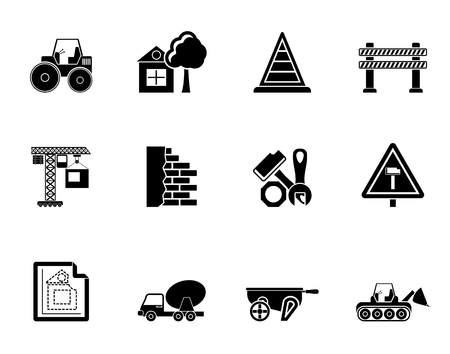 Silhouette Construction and building Icons - vector icon set Vector