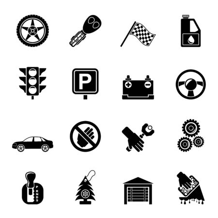 Silhouette Car and transportation icons - vector icon set Vector