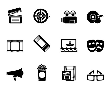 blu ray: Silhouette Movie theatre and cinema icons - vector icon set