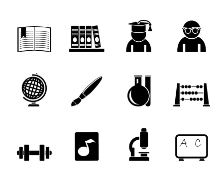 microscopy: Silhouette school and education icons - vector icon set