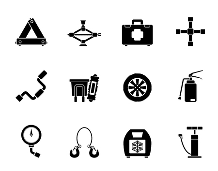 winter car: Silhouette car and transportation equipment icons - vector icon set Illustration